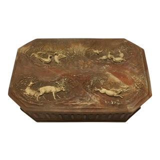Vintage Large Incolay Stone Box