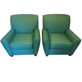 Turquoise Club Chairs - A Pair