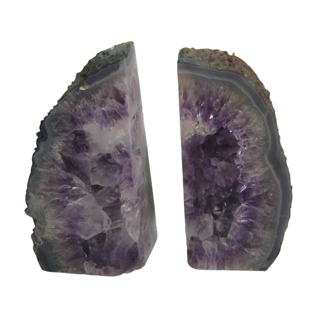 Oversize geode bookends a pair chairish - Geode bookends ...