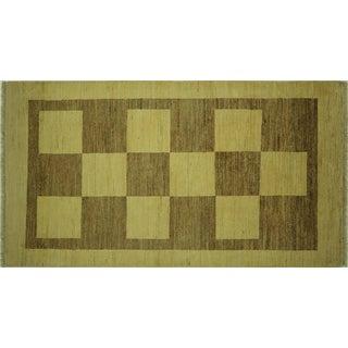 "Checkered Oriental Ivory Gabbeh Rug - 3'2"" X 5'8"""