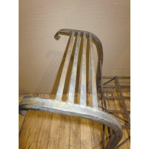 Image of Classical Iron Bench With Crosshatched Seat