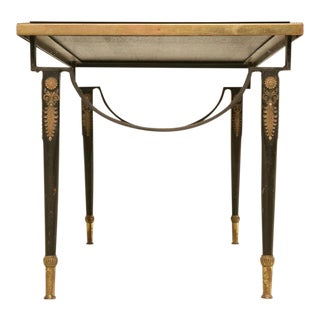 1940s French Cocktail Table With Black Glass Top