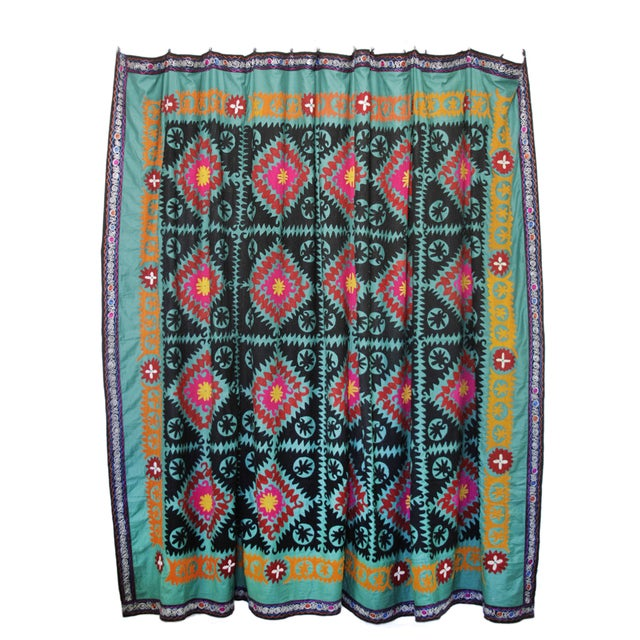 Vintage Teal Suzani Tapestry - Image 1 of 4