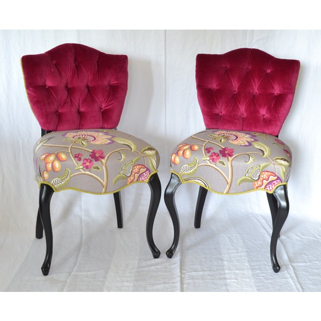 Tufted Velvet Vintage French Chairs - a Pair - Image 2 of 7