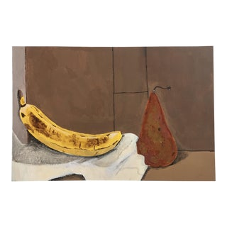 Original Vintage Banana & Pear Gouache Painting