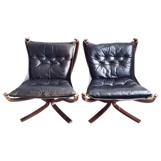 Sigurd Ressell Leather Lounge Chairs - Pair