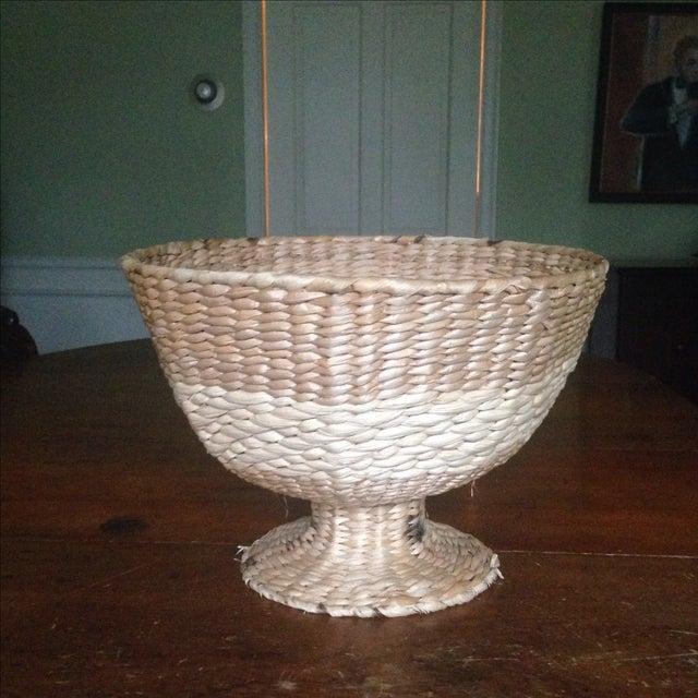 Vintage Natural Straw Pedestal Bowl - Image 2 of 11
