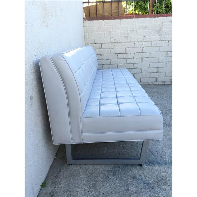 Modern Vinyl Chrome Legs Sofa - Image 5 of 10