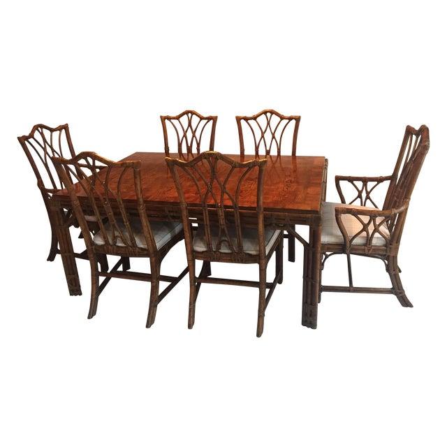 Image of Henredon Burl & Rattan Dining Set