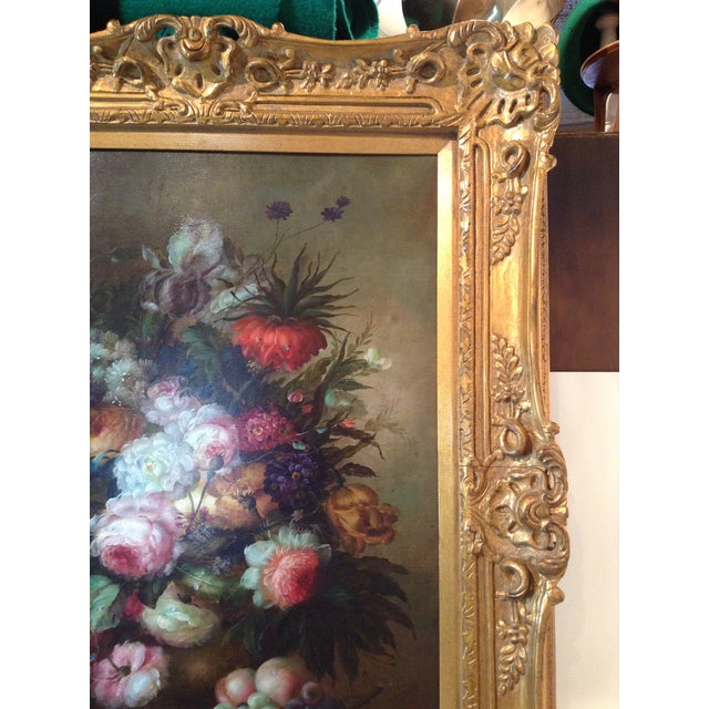 Large Floral Oil Painting in Ornate Gilded Frame - Image 7 of 10