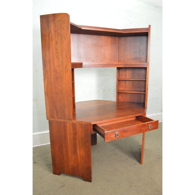 Stickley Solid Cherry Corner Desk w/ Bookcase Top - Image 9 of 10