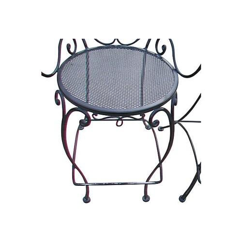 Woodard Scrolled Black Iron Bar Stools - A Pair - Image 3 of 4