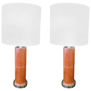 Mid-Century Modern Burl Wood Table Lamps - A Pair