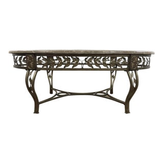 Contemporary Glass and Marble Top Pierced Metal Circular Coffee Table