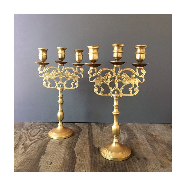 Image of Brass Candelabra Candelabra With Lions - Pair