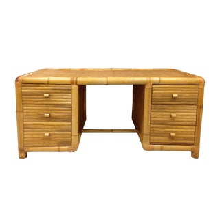 Palm Beach Rattan 6-Drawer Executive Desk