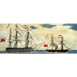Rare Sailor's Wool work of a First Rate Battle Ship Being Towed