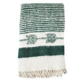 Green and White Wool Blanket