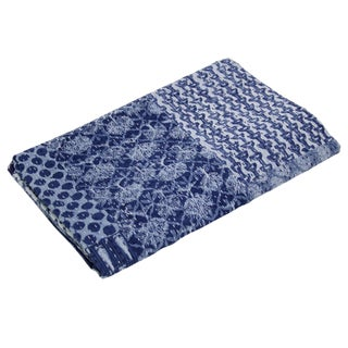 Navy Block Print Coverlet
