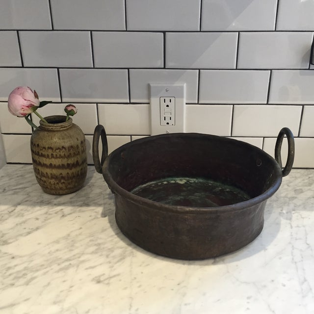Image of Vintage Copper Pot With Iron Handles