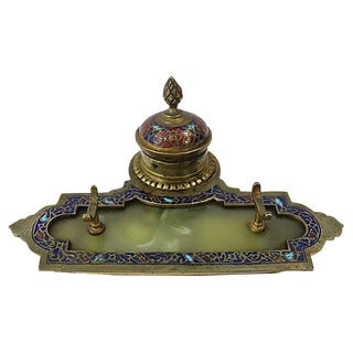 Antique French Cloisonné Inkwell