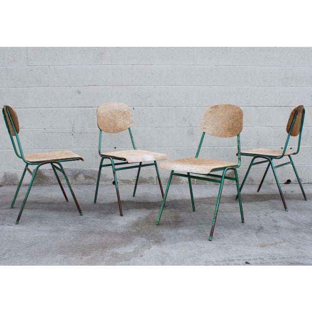 Vintage French Stacking Steel, Bentwood and Leather Schoolhouse Dining Chairs - Set of 4 - Image 2 of 11