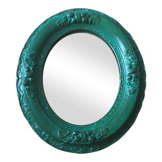 Antique Oval Turquoise Ornate Mirror