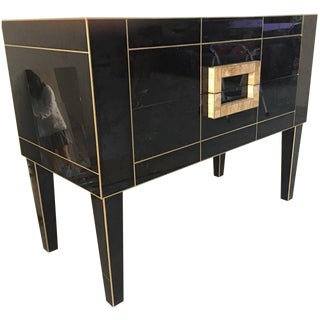 Mirrored Black & Ivory Glass Commode