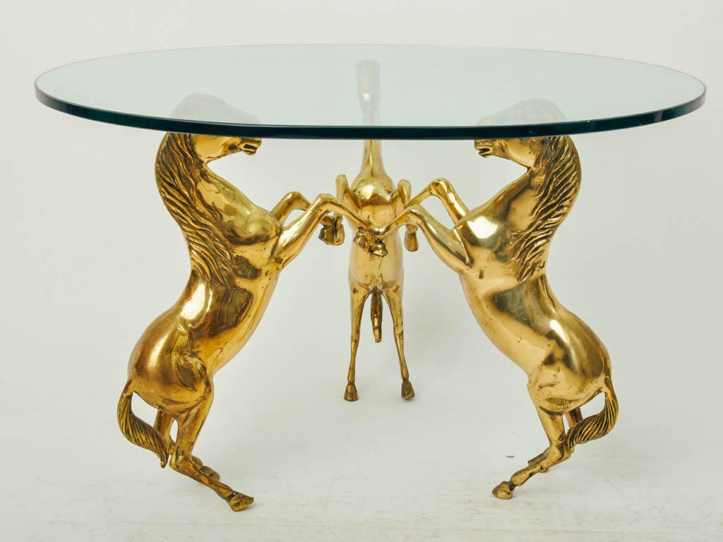 Brass Horse Pedestal Based Glass Top Coffee Table   Image 3 Of 7