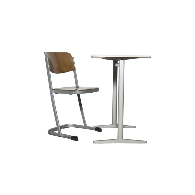 Retro Industrial School Desk and Chair Set - Image 1 of 11