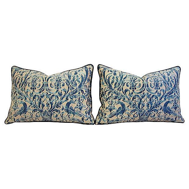 Custom Designer Italian Fortuny Uccelli Feather/Down Pillows - Pair - Image 6 of 10