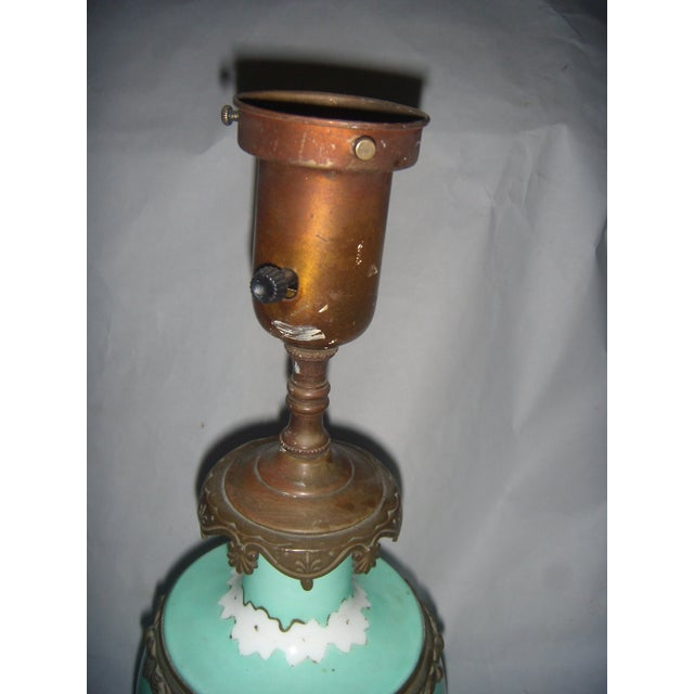 Image of Neoclassical Teal Porcelain & Brass Lamp
