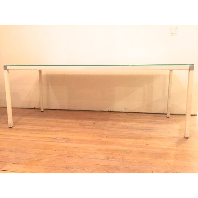 Minimal Modern White Glass Top Table - Image 3 of 3