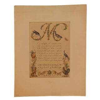 """1790s Illustrated Letter """"M"""" Calligraphy"""