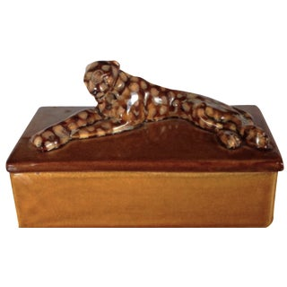 Mid-Century 1940's Pottery Leopard Box by Haeger
