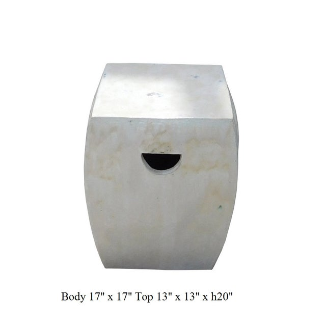 Chinese Off White Square Clay Ceramic Garden Stool - Image 7 of 7