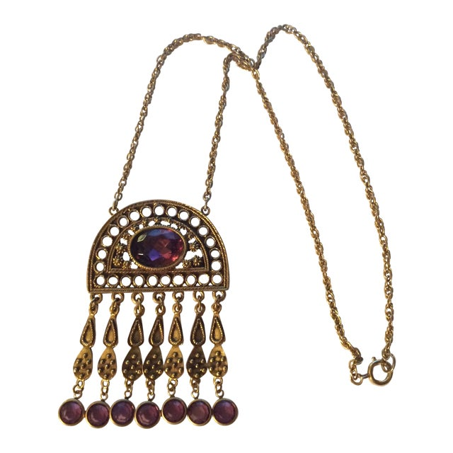 Image of Bohemian Purple Pendant Necklace