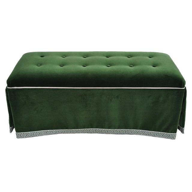 Century Emerald Velvet Tufted Bench - Image 1 of 4