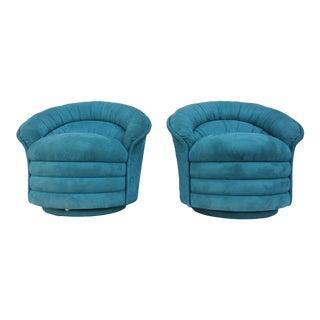 Vladimir Kagan Style Sculptural Swivel Club Lounge Chairs - A Pair