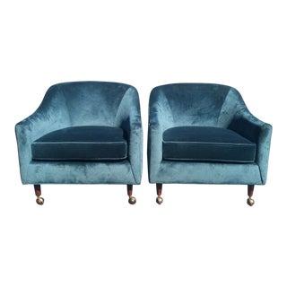 1960's Mid-Century Blue Velvet Armchairs - A Pair