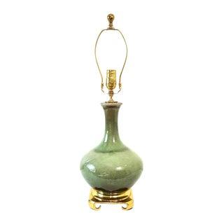 Mid-Century Haeger Celadon Crackle Glaze Pottery Lamp