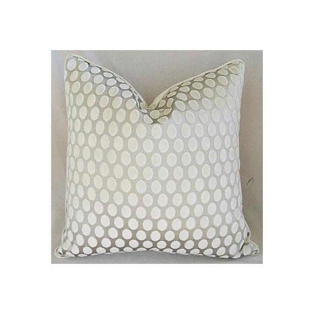 Designer Platinum/White Velvet Dot Pillows - Pair - Image 8 of 8