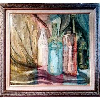 Pat Sharp Modernist Bottles Oil Painting
