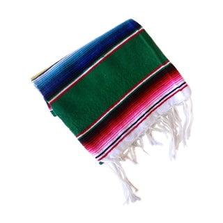 Green Sarape Rug or Throw Blanket