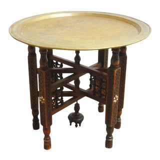 Middle Eastern Tabouret Brass Tray Drink Table