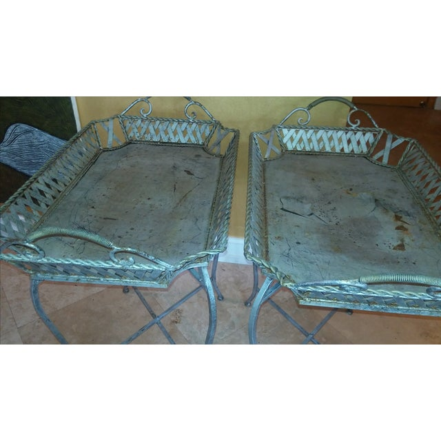 Silvery Indoor/ Outdoor Metal Tray Tables - Image 7 of 7