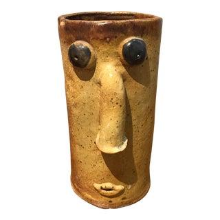 Studio Pottery Ceramic Face Vase