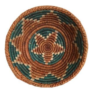 Teal & Orange Handwoven Bowl