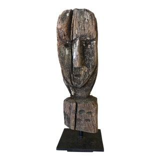 Vintage Primitive Wooden Bust