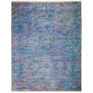 "Vibrance, Hand Knotted Purple Wool Area Rug - 4' 1"" X 5' 3"""